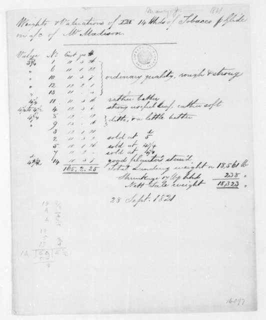 James Maury, September 28, 1821. List of weight and value for tobacco.