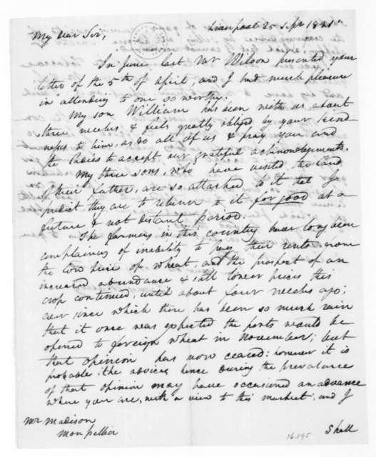 James Maury to James Madison, September 25, 1821.