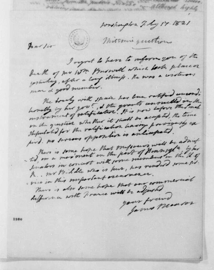James Monroe to James Madison, February 17, 1821.