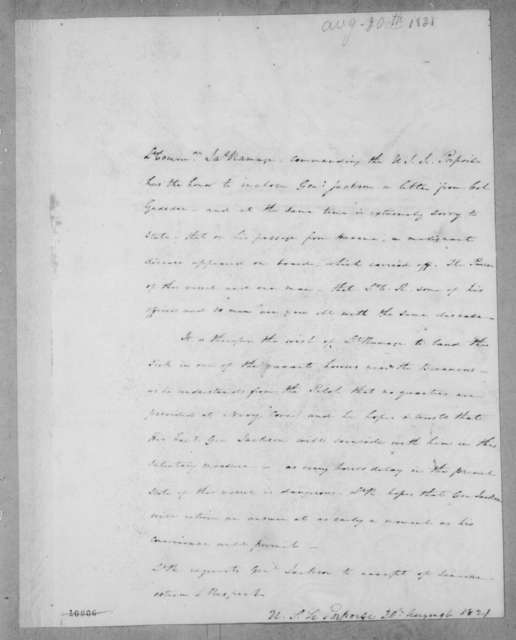 James Ramage to Andrew Jackson, August 20, 1821