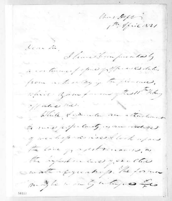 John Caldwell Calhoun to Andrew Jackson, April 8, 1821