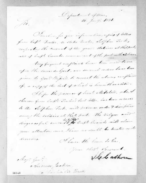 John Caldwell Calhoun to Andrew Jackson, January 16, 1821