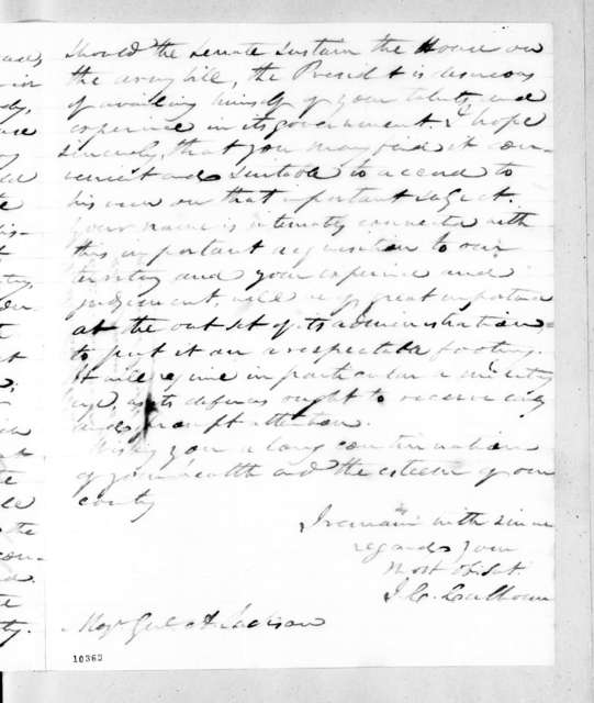 John Caldwell Calhoun to Andrew Jackson, January 25, 1821