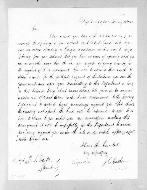 John Caldwell Calhoun to Richard Ivy Easter, January 20, 1821