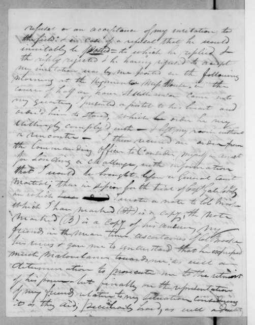 John Hull to Andrew Jackson, February 24, 1821