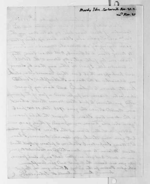 John Moody to Thomas Jefferson, November 20, 1821