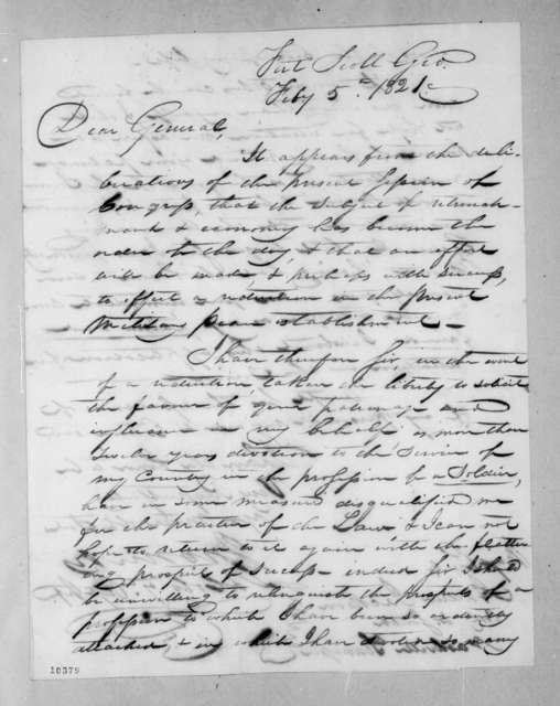 John Nicks to Andrew Jackson, February 5, 1821