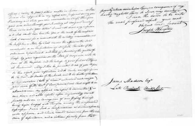 Joseph Wheaton to James Madison, October 20, 1821.