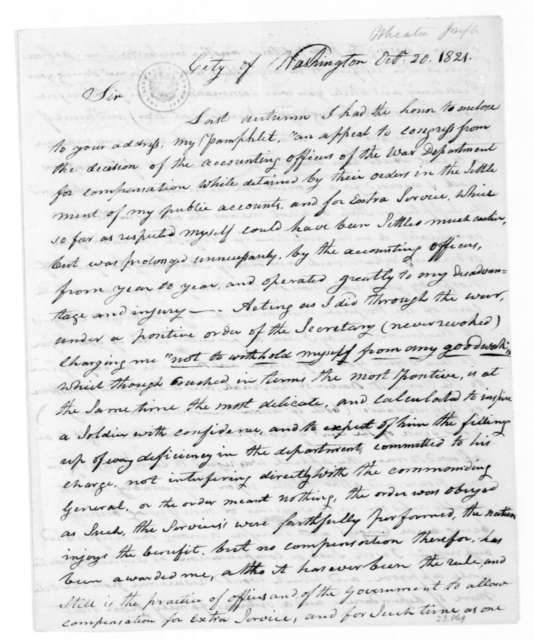 Joseph Wheaton to James Madison, October 20, 1821.
