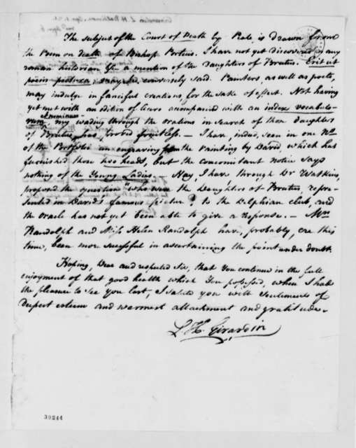 Louis H. Girardin to Thomas Jefferson, April 1, 1821