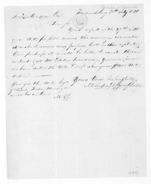MacKay & Campbell to James Madison, July 30, 1821.