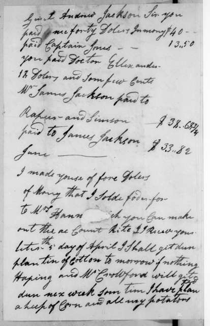 Malachi Nicholson to Andrew Jackson, April 5, 1821