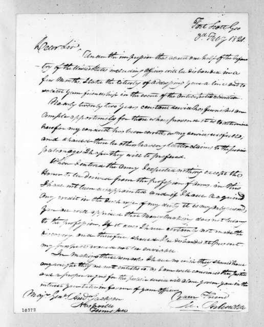 Mathew Arbuckle to Andrew Jackson, February 3, 1821