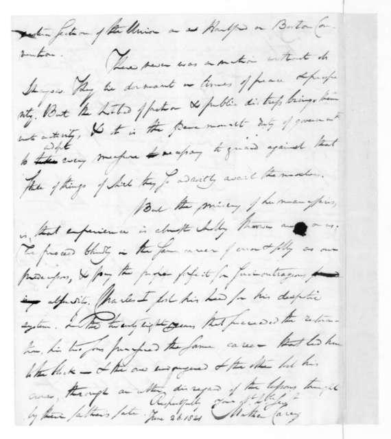Mathew Carey to James Madison, June 26, 1821.