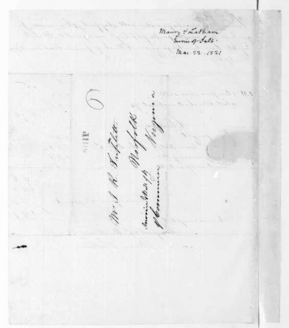 Maury & Latham to John R. Triplett, March 22, 1821. Invoice.