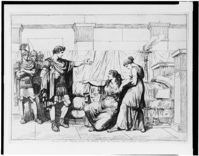 Ottaviano visita Cleopatra, mentre lei abbatuta dalle sue sciagrue, gli si prostra dinnanzi / Pinelli inv. e  inc. Roma 1821.