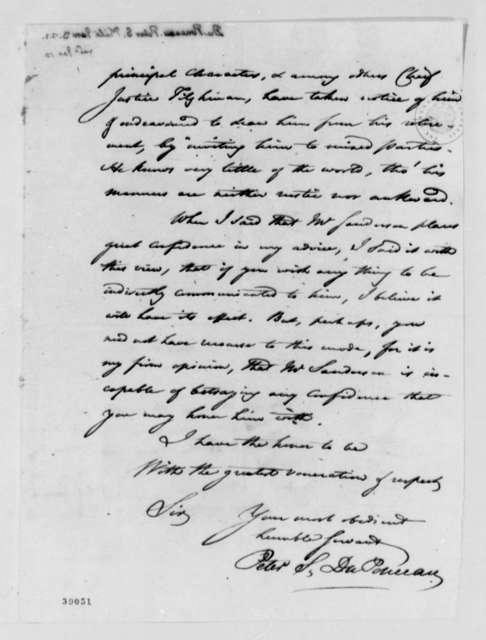 Peter S. du Ponceau to Thomas Jefferson, January 3, 1821