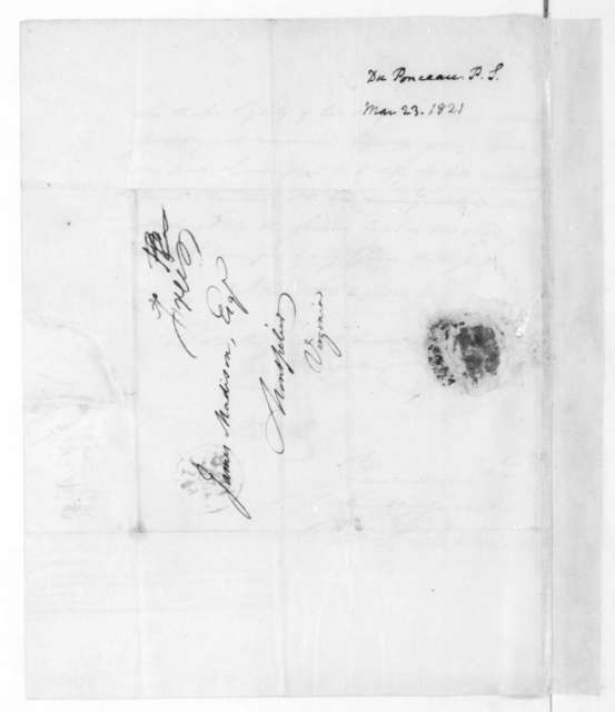 Peter S. Duponceau to James Madison, March 23, 1821.