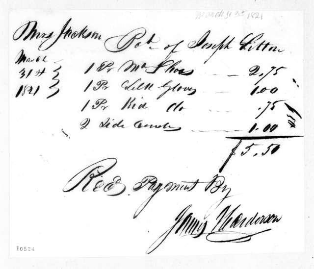 Rachel Donelson Jackson to Joseph Litton, March 31, 1821