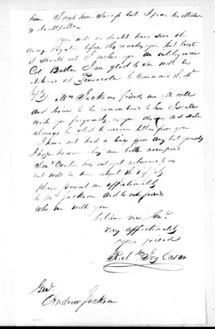 Richard Ivy Easter to Andrew Jackson, June 8, 1821