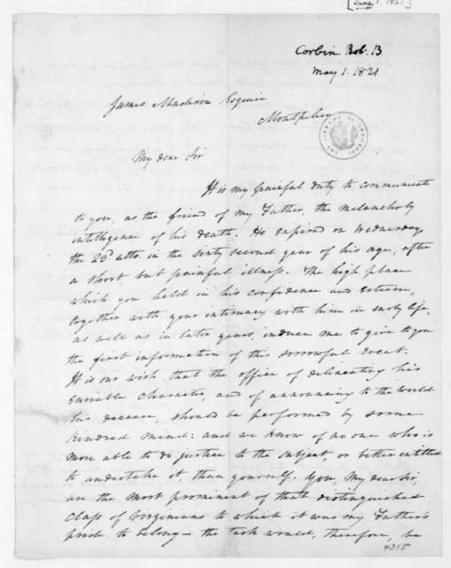 Robert B. Corbin to James Madison, June 1, 1821.