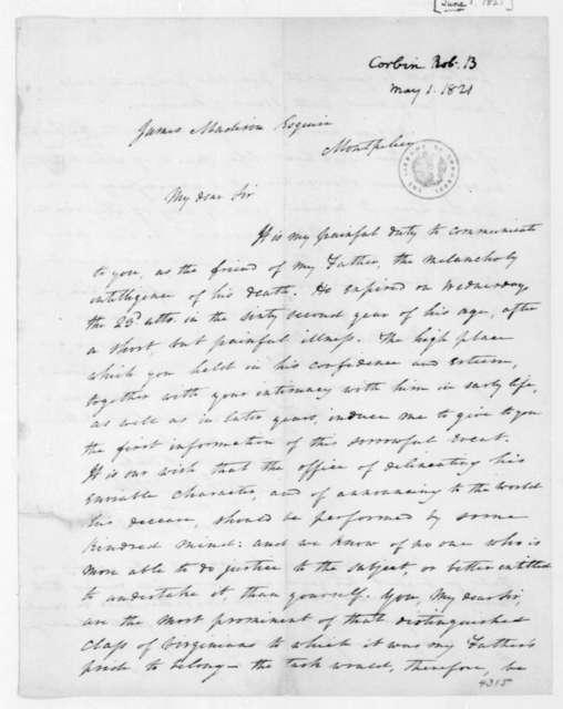 Robert B. Corbin to James Madison, June 1, 1821.