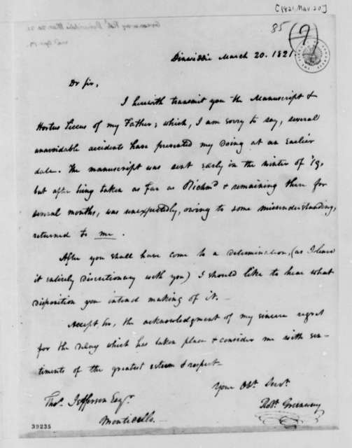Robert Greenway to Thomas Jefferson, March 20, 1821
