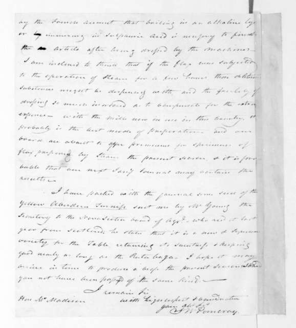 S. W. Pomeroy to James Madison, August 12, 1821.