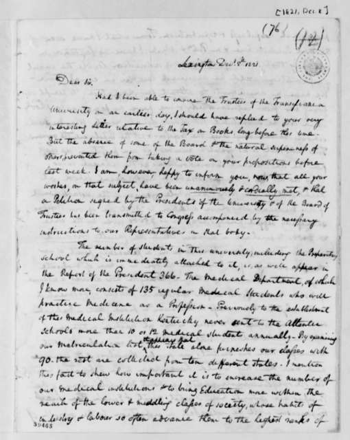 Samuel Brown to Thomas Jefferson, December 8, 1821