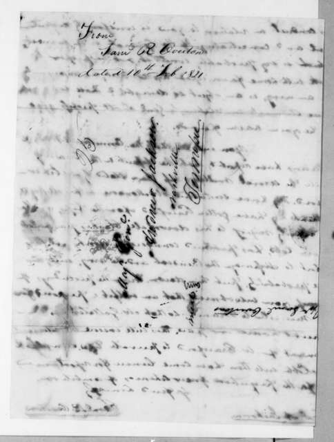 Samuel Ragland Overton to Andrew Jackson, February 10, 1821