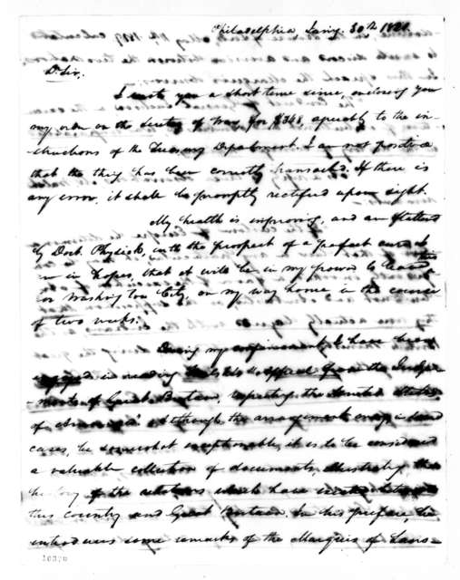 Samuel Ragland Overton to Andrew Jackson, January 30, 1821