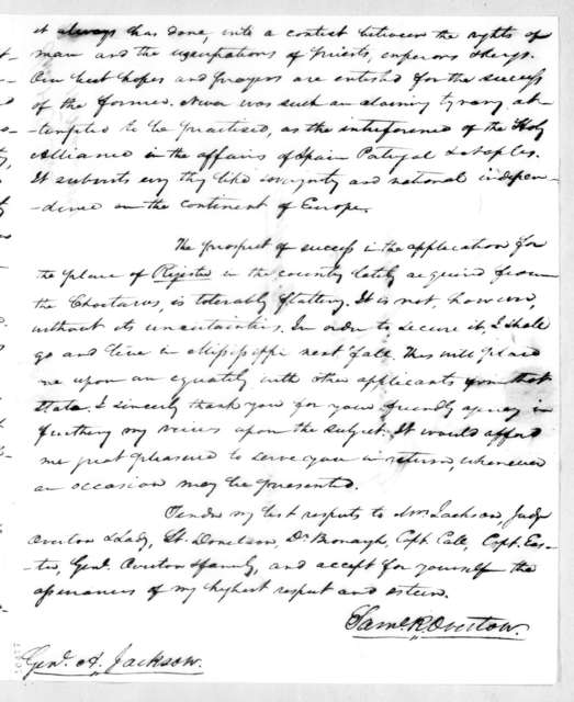 Samuel Ragland Overton to Andrew Jackson, March 11, 1821