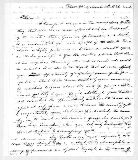 Samuel Ragland Overton to Andrew Jackson, March 11, 1821