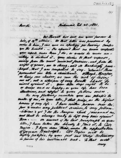 Spencer Roane to Thomas Jefferson, February 25, 1821