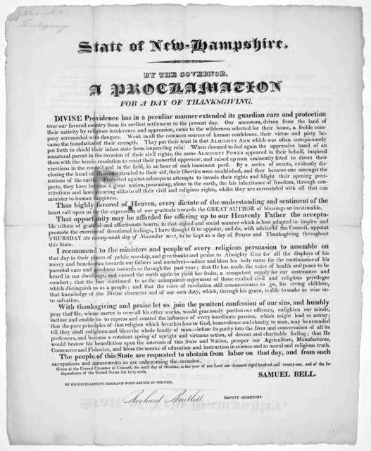 State of New-Hampshire. By the governor. A proclamation for a day of thanksgiving ... I have thought fit to appoint ... Thursday the twenty-ninth day of November next, to be kept as a day of prayer and thanksgiving throughout this state ... Give