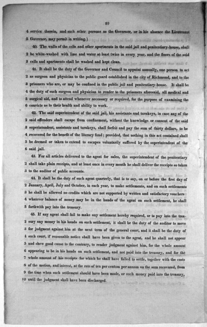 Substitute (proposed by Mr. Chamberlayne,) for the bill, to reduce into one act the several acts and parts of acts for establishing a public jail and penitentiary-house, and for the punishment of crimes. Presented January 29th, 1821. [Richmond,