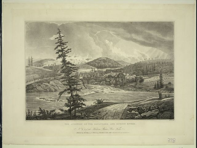 The junction of the Sacandaga and Hudson Rivers / painted by W.G. Wall ; finished by I. Hill.