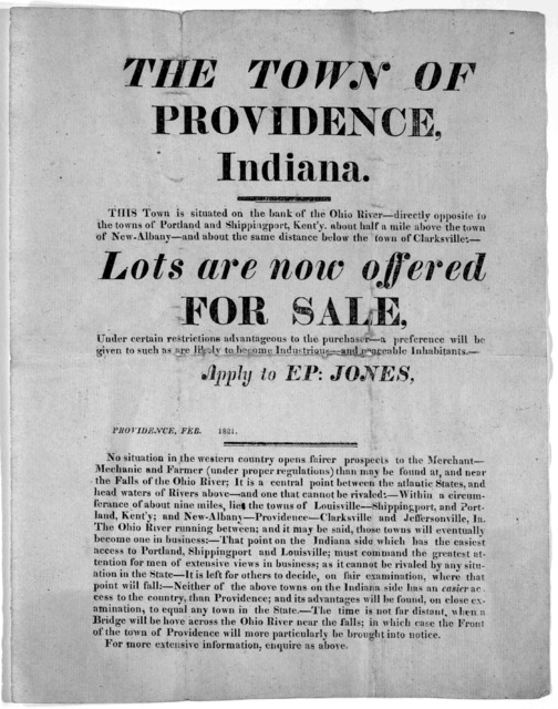 The town of Providence, Indiana. This town is situated on the bank of the Ohio River - directly opposite the towns of Portland and Shippingport, Kent'y, about half a mile above the town of New-Albany - and about the same distance below the Town