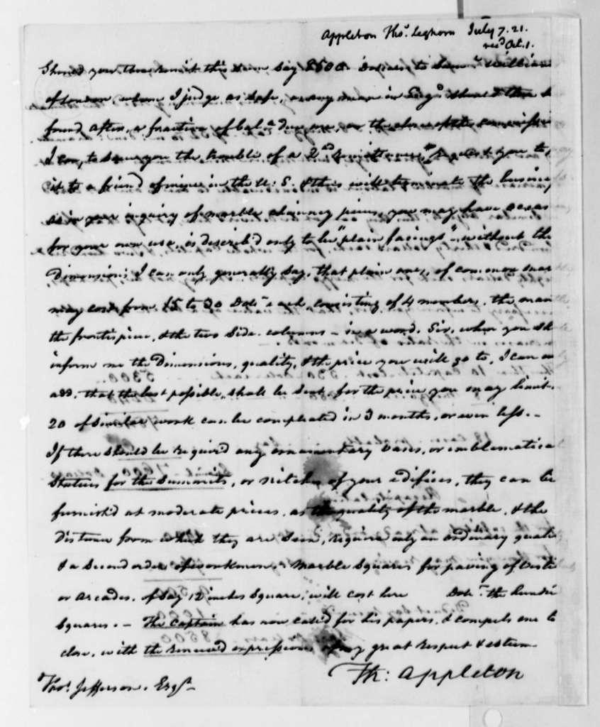 Thomas Appleton to Thomas Jefferson, July 7, 1821, with Copy