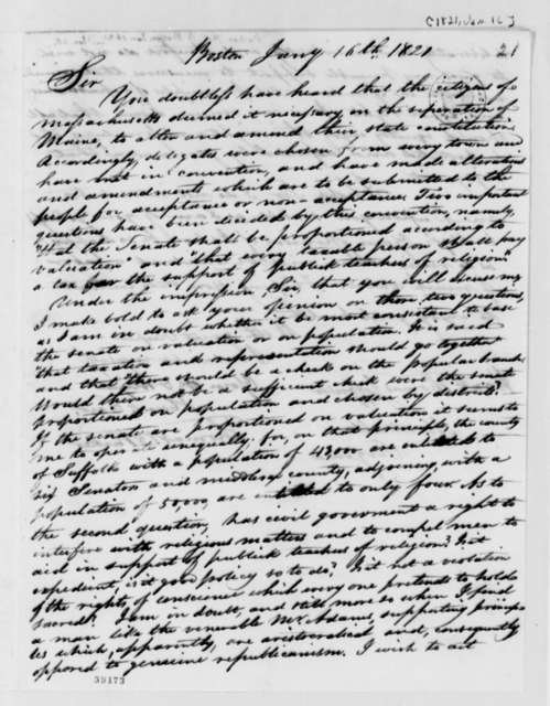 Thomas B. Parker to Thomas Jefferson, January 16, 1821