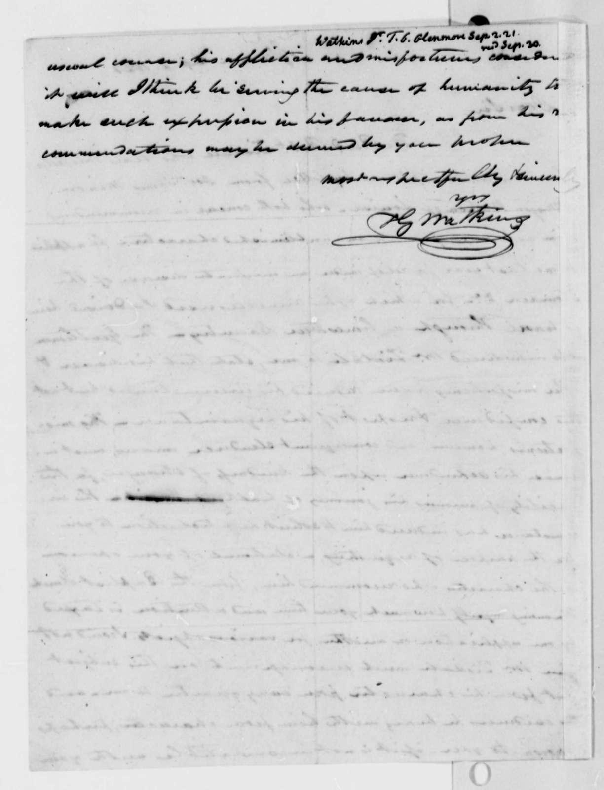 Thomas G. Watkins to Thomas Jefferson, September 2, 1821