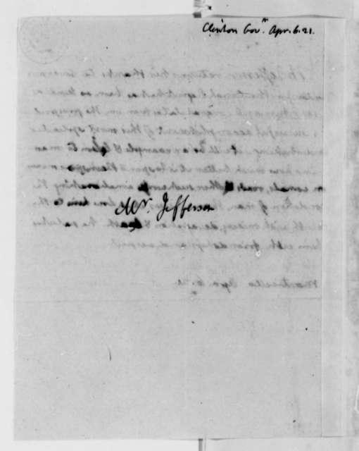 Thomas Jefferson to Dewitt Clinton, April 6, 1821