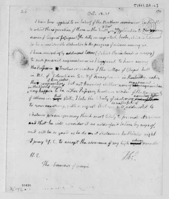 Thomas Jefferson to Edward Telfair, October 12, 1821