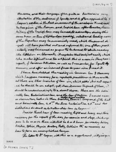 Thomas Jefferson to Francis Eppes, September 16, 1821, Fragment