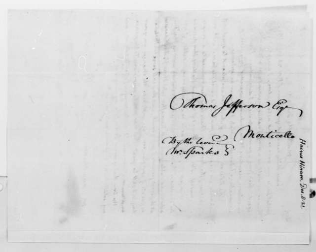 Thomas Jefferson to Hiram Haines, December 8, 1821