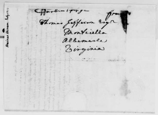 Thomas Jefferson to Hiram Haines, July 10, 1821