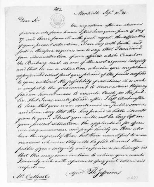 Thomas Jefferson to James Leander Cathcart, September 10, 1821.