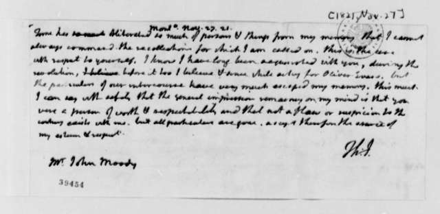 Thomas Jefferson to John Moody, November 27, 1821