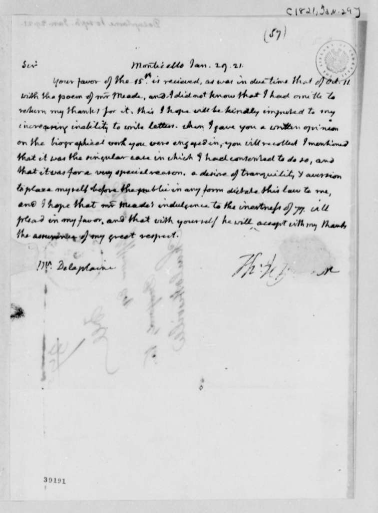 Thomas Jefferson to Joseph Delaplaine, January 29, 1821