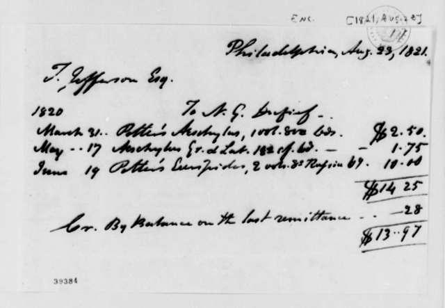 Thomas Jefferson to Nicholas Gouin Dufief, August 23, 1821, Account Balance